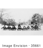 #35661 Stock Photo Of A Group Of Children Boys And Girls Posing On Sleds In Central Park New York City
