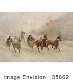 #35662 Stock Illustration Of People Racing On Horse Drawn Sleighs On A Snowing Winter Day