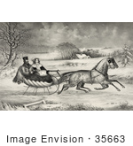 #35663 Stock Illustration Of A Man And Lady Riding In A Horse Drawn Sleigh On A Wintry Road