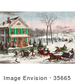 #35665 Stock Illustration Of Four Horse Drawn Sleighs Racing Down A Street In Front Of A Home While People Watch Or Ice Skate In The Background