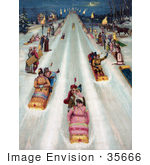 #35666 Stock Illustration Of A Vintage Advertisement For Star Toboggans Showing People Having Fun And Sledding Downhill At Night