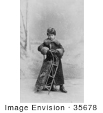 #35678 Stock Photo Of Jozef Kazimierz Hofmann As A Child, Standing In The Snow With A Sled by JVPD