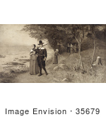 #35679 Stock Illustration Of A Man With A Rifle Leading A Woman Children And Other Pilgrims Along A Coastal Path
