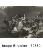 #35680 Stock Illustration Of The Landing Of The Pilgrims At Plymouth Rock Men Assisting Women Ashore