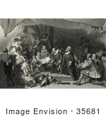 #35681 Stock Illustration Of Pilgrims, Men, Women, And Children, On The Mayflower Ship On Their Way To America by JVPD
