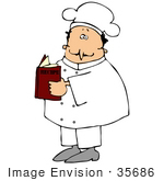 #35686 Clip Art Graphic of a Male Caucasian Chef in a White Uniform, Holding a Recipe Book by DJArt
