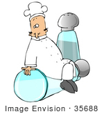 #35688 Clip Art Graphic Of A Male Caucasian Chef In A White Uniform And Hat Sitting On A Tipped Salt Shaker