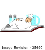 #35690 Clip Art Graphic Of A Male Caucasian Chef In A White Hat And Uniform Relaxing On Top Of A Recipe Book Salt And Pepper Shakers In The Background
