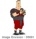 #35691 Clip Art Graphic Of A Male Caucasian American Football Athlete In Uniform Holding The Ball