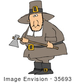 #35693 Clip Art Graphic Of A Male Caucasian Pilgrim Preparing To Kill A Turkey With An Ax