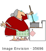 #35696 Clip Art Graphic Of A Chubby Grandmother In A Red Dress And Bunny Slippers Stirring Food While Cooking In The Kitchen