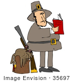 #35697 Clip Art Graphic Of A Pilgrim Man Standing By A Dead Turkey On A Stump And A Leaning Rifle Reading A Book