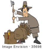#35698 Clip Art Graphic Of A Pilgrim Man Standing Over A Turkey With His Head On A Stump About To Cut His Head Off