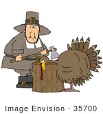 #35700 Clip Art Graphic Of A Pilgrim Man Standing By A Turkey With His Head Propped On A Stump Holding An Ax
