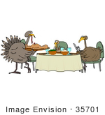 #35701 Clip Art Graphic Of A Family Of Turkey Birds Eating Thanksgiving Consisting Of Mashed Potatoes Veggies And Human
