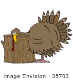 #35703 Clip Art Graphic Of A Helpless Turkey Bird With His Head On A Wood Stump