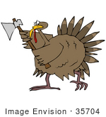 #35704 Clip Art Graphic of a Turkey Bird Running With An Ax, Defending Himself From Becoming Thanksgiving Dinner by DJArt
