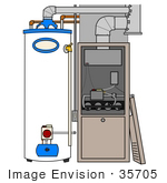 #35705 Clip Art Graphic Of A White And Blue Water Heater Beside A Furnace