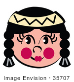 #35707 Clip Art Graphic Of A Cute Little Native American Indian Girl With Pink Cheeks Braids And A Headband