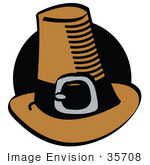 #35708 Clip Art Graphic Of A Brown Pilgrim Hat With A Black Band And Silver Buckle In Front Of A Black Circle