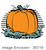#35710 Clip Art Graphic Of A Big Orange Pumpkin With A Stem And Tendrils Surrounded By Fallen Autumn Leaves