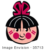 #35713 Clip Art Graphic Of A Smiling Native American Indian Boy With Red Feathers Black Hair And Face Paint