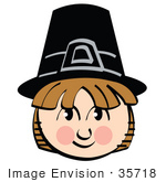 #35718 Clip Art Graphic Of A Friendly Brown Haired Pilgrim Boy Smiling And Wearing A Black Hat