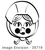 #35719 Clip Art Graphic Of A Young Pilgrim Girl Wearing A Bonnet On Her Head Black And White
