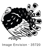 #35720 Clip Art Graphic Of A Black And White Thanksgiving Turkey Bird With Big Feathers