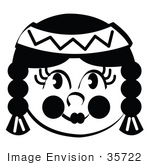 #35722 Clip Art Graphic Of A Native American Indian Girl With With Braids In Black And White