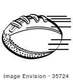 #35724 Clip Art Graphic Of A Leather American Football Speeding Through The Air During A Toss Black And White