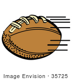 #35725 Clip Art Graphic Of A Brown Leather American Football Being Tossed During A Game