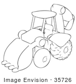 #35726 Clip Art Graphic of a Sketched Drawing of a Backhoe Machine by Jester Arts