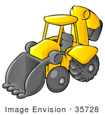 #35728 Clip Art Graphic Of A Yellow And Black Backhoe Machine Parked In A Construction Zone