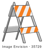 #35729 Clip Art Graphic Of A Barricade With Orange And White Stripes On The Side Of The Road At A Construction Site