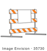 #35730 Clip Art Graphic of a Road Block Posted With A Blank Sign In A Road Work Area by Jester Arts