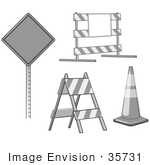 #35731 Clip Art Graphic of a Road Block, Barricade, Traffic Cone And Warning Sign by Jester Arts