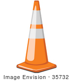 #35732 Clip Art Graphic Of A Safety Road Traffic Cone On The Street In A Construction Zone