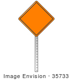 #35733 Clip Art Graphic Of An Orange Warning Sign With A Black Border Posted In A Road Work Area