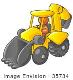 #35734 Clip Art Graphic Of An Orange Guy Character Driving A Yellow Backhoe
