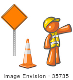 #35735 Clip Art Graphic Of An Orange Guy Character Working Road Construction Standing By A Sign And Cone Directing Traffic