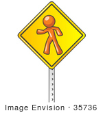 #35736 Clip Art Graphic Of An Orange Guy Character On A Yellow Pedestrian Crossing Sign