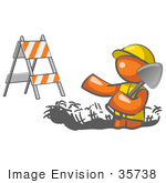 #35738 Clip Art Graphic Of An Orange Guy Character In A Hardhat Digging In The Road At A Construction Site