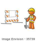 #35739 Clip Art Graphic Of An Orange Guy Character With A Shovel Near A Road Block