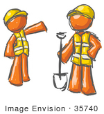 #35740 Clip Art Graphic Of An Painted Orange Guy Character Instructing An Employee How To Do Road Work
