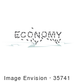 #35741 Clip Art Graphic Of Sugar Ants Forming The Word Economy Escaping In Cracks