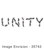 #35743 Clip Art Graphic Of Black Ants Forming The Letters In The Word Unity