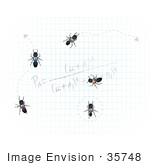 #35748 Clip Art Graphic Of Invading Sugar Ants Crawling Along A Calculation On Graph Paper