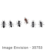 #35753 Clip Art Graphic Of Five Black And One Brown Sugar Ants In A Horizontal Row