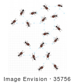 #35756 Clip Art Graphic Of A Group Of Brown Ants Communicating Over A Graph